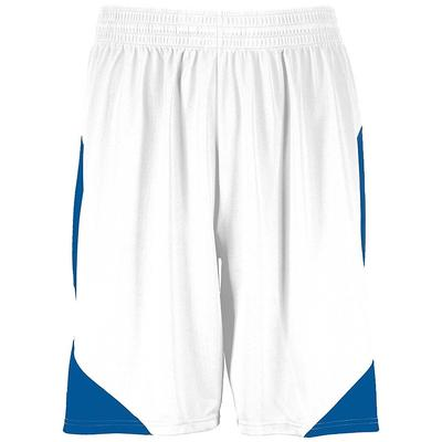 Augusta Sportswear 1733 Adult Step-Back Basketball Shorts in White/Royal size Medium   Polyester