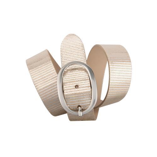 BERND GÖTZ Ledergürtel, mit feiner, metallischer Streifenprägung beige Damen Ledergürtel Gürtel Accessoires