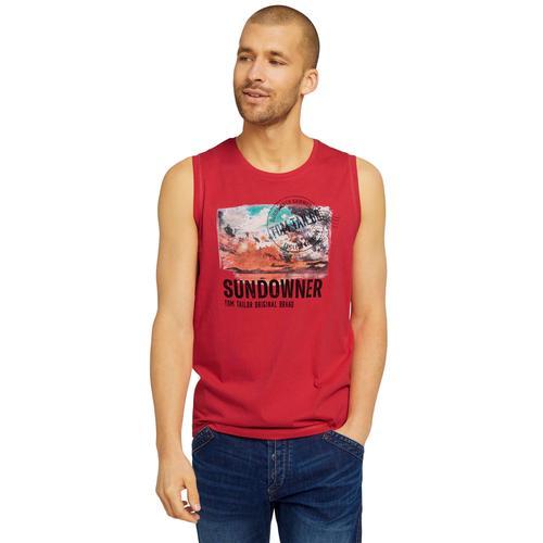 TOM TAILOR Muskelshirt, mit Logoprint rot Herren Muskelshirts Shirts Muskelshirt