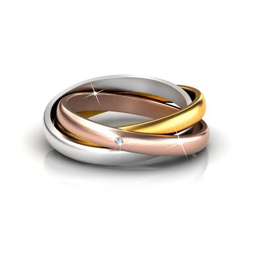 3-in-1 Damen-Ring mit Kristall: Gr. 58
