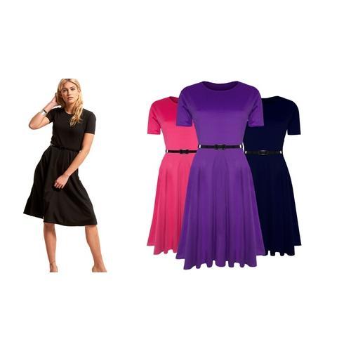 Damen-Kleid mit Gürtel: Kirschrot/ Gr. S-M