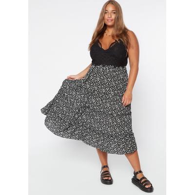Rue21 Womens Plus Size Cheetah Print Crochet Inset Midi Ruffle Tiered Dress - Size 4X