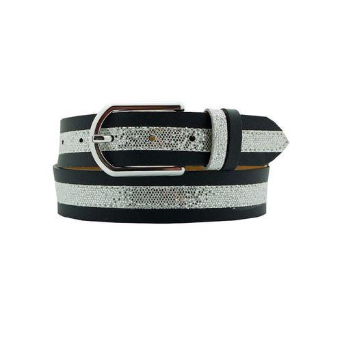 AnnaMatoni Ledergürtel, Mittig mit Glitterstreifen schwarz Damen Ledergürtel Gürtel Accessoires