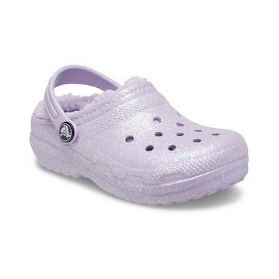 Crocs Lavender Kids' Classic Glitter Lined Clog Shoes