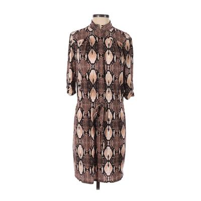White House Black Market - White House Black Market Casual Dress - Shirtdress: Brown Animal Print Dresses - Used - Size Small