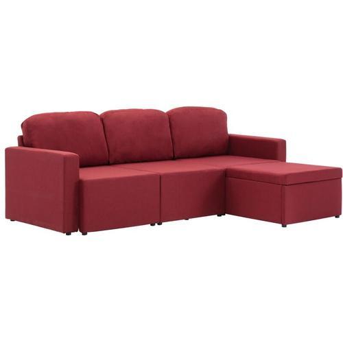 Modulares 3-Sitzer-Schlafsofa Stoff Weinrot