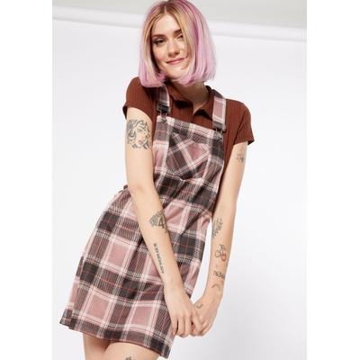 Rue21 Womens Pink Plaid Overall Dress - Size Xs