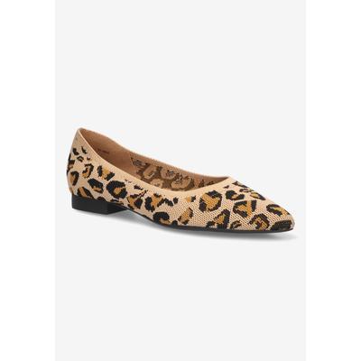 Wide Width Women's Mireya Flat by Bella Vita in Leopard Knit (Size 10 W)