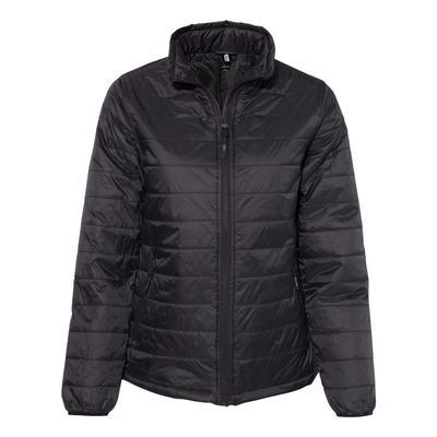 Independent Trading Co. EXP200PFZ Women's Puffer Jacket in Black size Medium | Nylon