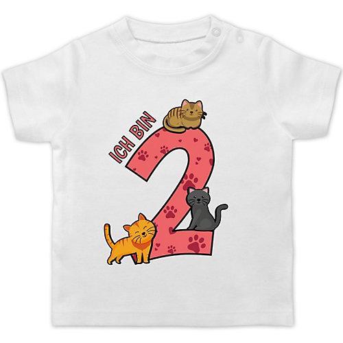 Baby Geburtstag Geburtstagsgeschenk 2. Geburtstag Katzen T-Shirts Kinder weiß Kleinkinder