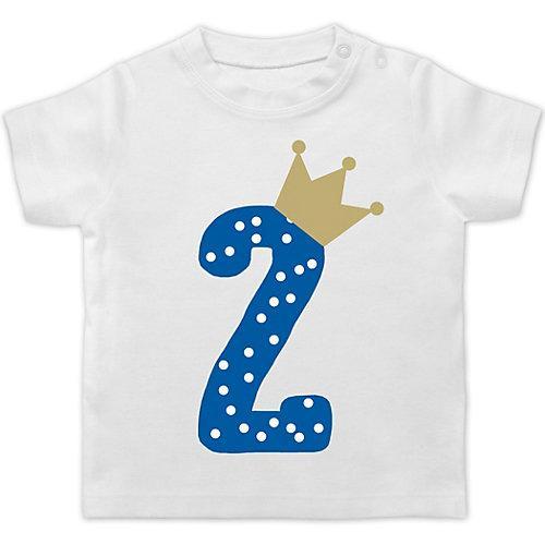 Baby Geburtstag Geburtstagsgeschenk 2. Geburtstag Krone Junge T-Shirts Kinder weiß Kleinkinder