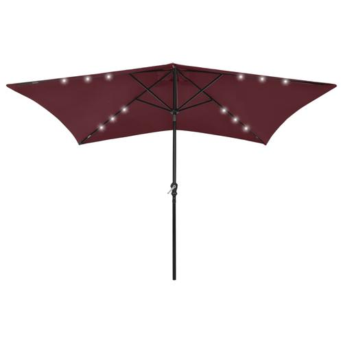vidaXL Sonnenschirm mit LEDs und Stahl-Mast Bordeauxrot 2x3 m