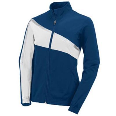 Augusta Sportswear 7736 Girls Aurora Jacket in Navy Blue/White/Metallic Silver size Large | Polyester