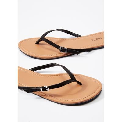 Rue21 Womens Black Buckle Strap Flip Flops - Size 10