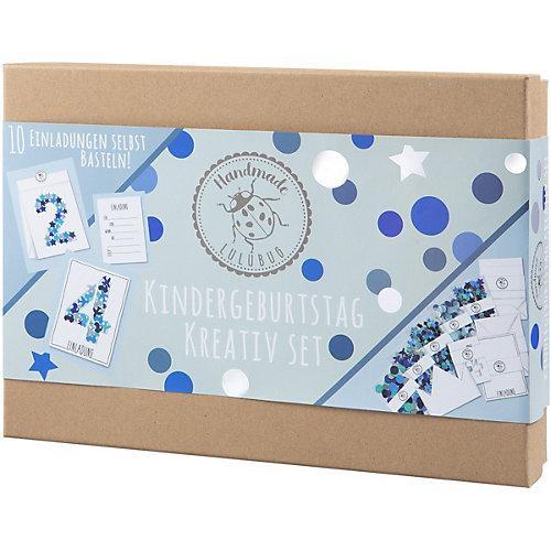 Kindergeburtstag Einladungskarten, Kreativ-Set, blau, 10 Stück