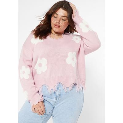 Rue21 Womens Plus Size Light Pink Daisy Print Destructed Hem Sweater - Size 2X