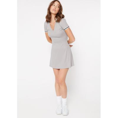 Rue21 Womens Heather Gray Super Soft Striped Sleeve Polo Dress - Size M