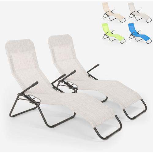 2 klappbare Liegestühle aus Stahl Pasha   Grau