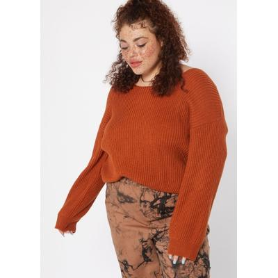 Rue21 Womens Plus Size Red Terracotta Twist Back Pullover Sweater - Size 4X
