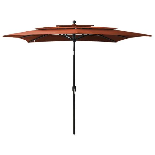vidaXL Sonnenschirm mit Alu-Mast 3-lagig Terracotta-Rot 2,5x2,5 m