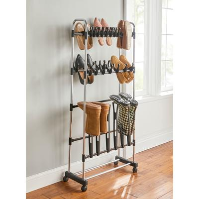 Rolling Boot Storage Rack by BrylaneHome in Chrome