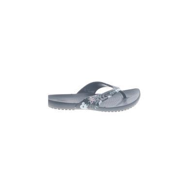 Crocs Flip Flops: Black Solid Shoes - Size 4