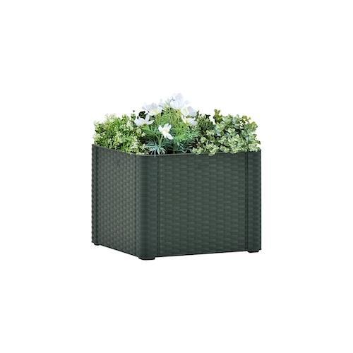 vidaXL Garten-Hochbeet mit Selbstbewässerungssystem Grün 43x43x33 cm