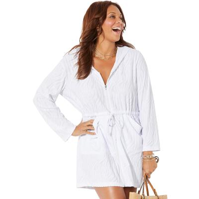 Plus Size Women's Carla Terry Cover Up Hoodie by Swimsuits For All in White (Size 10/12)