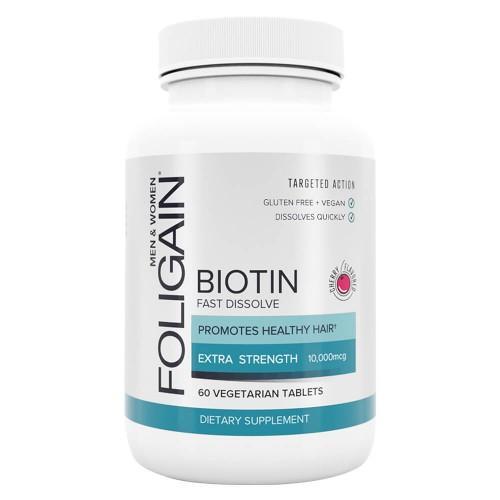 Foligain Biotin Tabletten Für Haare, Haut & Nägel 10000mcg Biotin 60 Tabletten