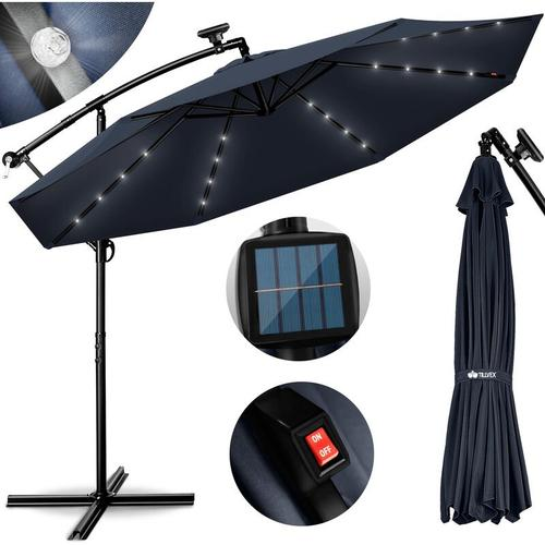 Alu Ampelschirm Blau LED Solar Ø 300 cm mit Kurbel | Sonnenschirm mit An-/Ausschalter |