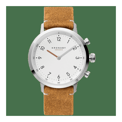 Kronaby - Nord 41 Mm Hybrid Smartwatch White Brown Leather