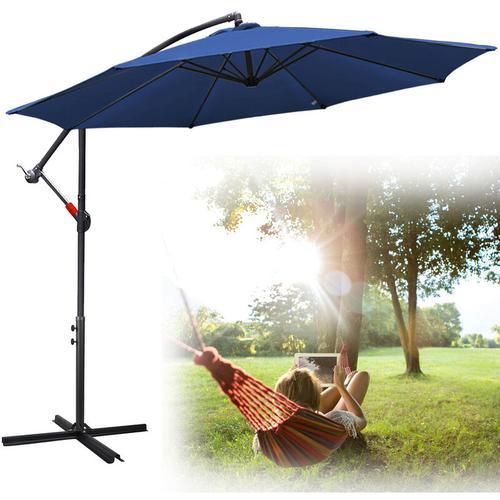 3m Sonnenschirm mit LED Solar Neigbar Ampelschirm Balkonschirm Marktschirm UV30+ Gartenschirm Blau