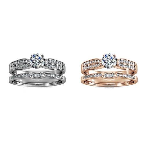 Damen-Ring mit Kristallen: Roségold/Gr. 56