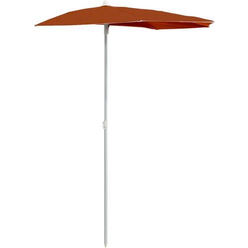 Vidaxl - Halb-Sonnenschirm mit Mast 180x90 cm Terracotta-Rot