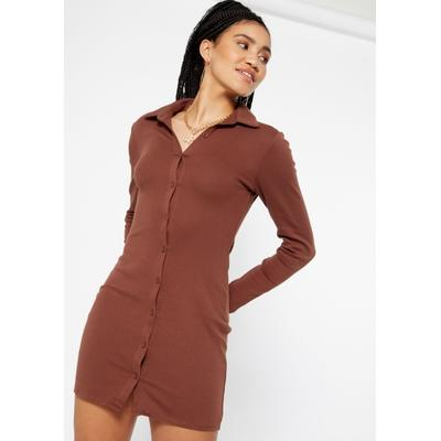 Rue21 Womens Brown Long Sleeve Button Down Polo Dress - Size L