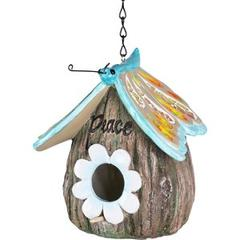 Exhart Butterfly Roof Peace Acorn Hanging Bird House