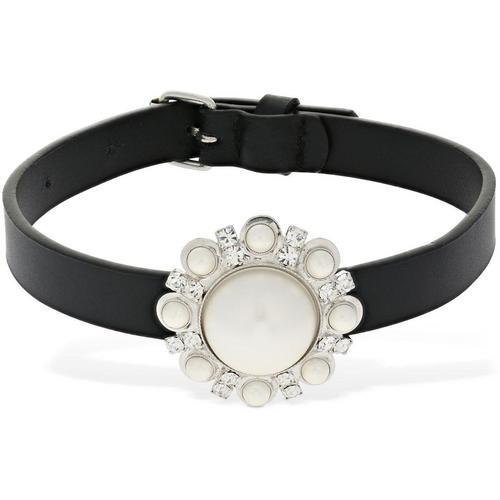 Alessandra Rich Halsband Aus Leder Mit Kristallen Und Perlenimitat