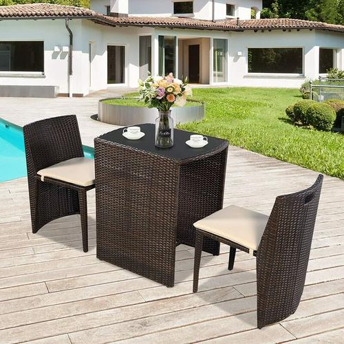 Gartenmoebel, Rattan Sitzgruppe mit Sitzkissen, Rattantisch und Stuhl, Rattanmoebel Balkon,