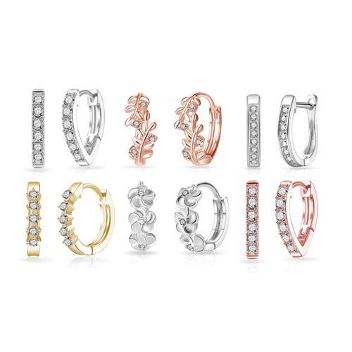 Creolen: 1 / Creolen mit 8 Kristallen / Silber