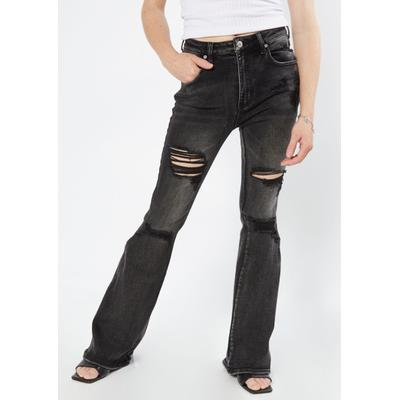 Rue21 Womens Black High Rise Ripped Flare Jeans - Size 3