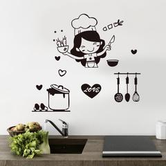 Autocollant mural Happy Girl Chef love cuisine, autocollant mural, Restaurant Bar cuisine salle à