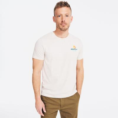 Nautica Men's Sustainably Crafted Surfing Graphic T-Shirt Nautica Stone, 3XL