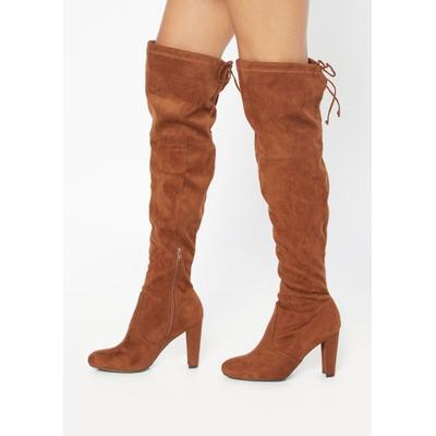 Rue21 Womens Dark Brown Faux Suede Over The Knee Heel Boots - Size 8