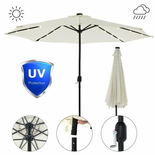 Sonnenschutz LED Beleuchtung Strandschirm Beige Ø3m Sonnenschirm Gartenschirm Ampelschirm