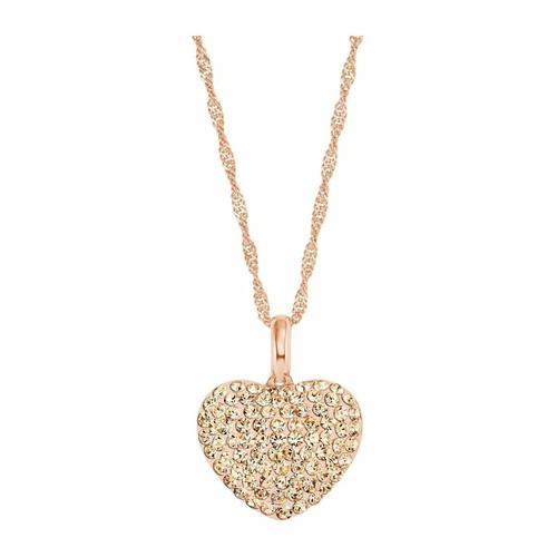 Kette mit Anhänger für Damen, Sterling Silber 925, Kristallglas Herz amor Roséfarben
