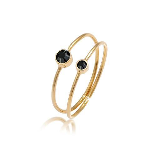 Ring 2Er Set Kristalle 925 Sterling Silber Elli Gold