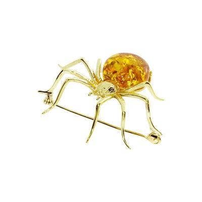 Brosche - Spinne 48 x 40 mm Silber 925/000, vergoldet Bernstein OSTSEE-SCHMUCK goldfarben-gelb