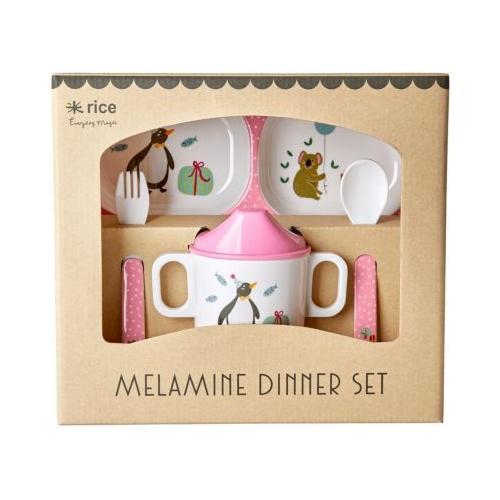 Melamin Baby Geschirrset in Geschenkbox - Tierparty - 4 Teile pink