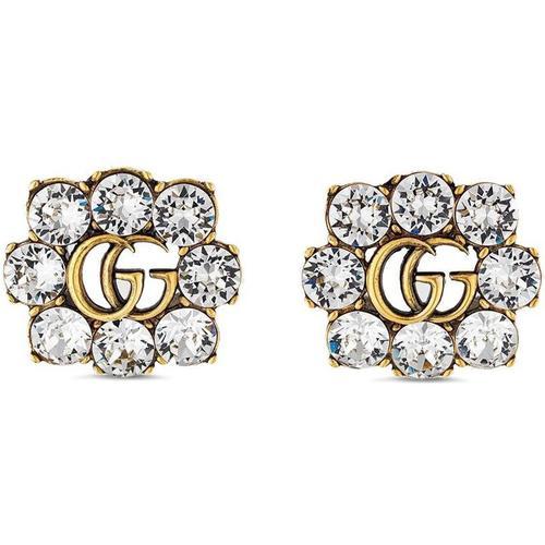 Gucci Kristallverzierte Ohrringe mit GG