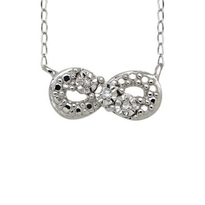 Belk & Co. 1/10 ct. t.w. Diamond Accent Infinity Necklace with 17 Inch Curb Chain in Sterling Silver